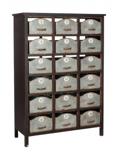 Semainier meuble à casiers numérotés métal vintage