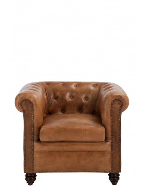 Fauteuil en cuir marron style chesterfield