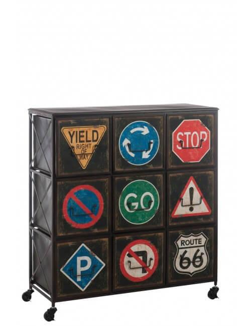 Étagère en métal effet rouille, 9 tiroirs avec motifs panneau de signalisation.