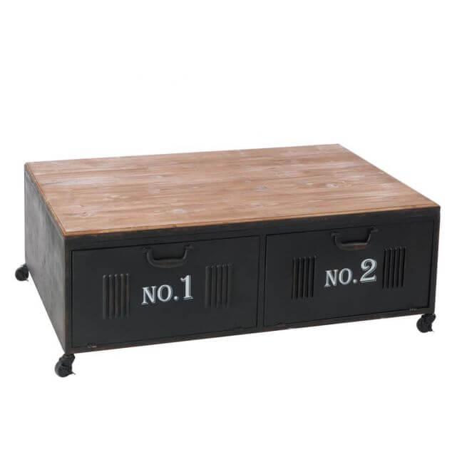 Table basse avec casiers en m tal de style industriel for Table basse style loft