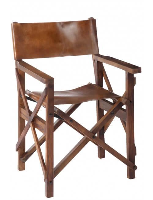 Fauteuil de réalisateur en bois de sesham et cuir de couleur cognac