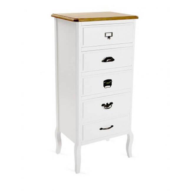 chiffonnier semainier en bois blanc 5 tiroirs kot. Black Bedroom Furniture Sets. Home Design Ideas