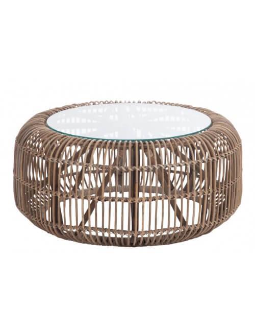 Table basse ronde en rotin naturel avec plateau en verre