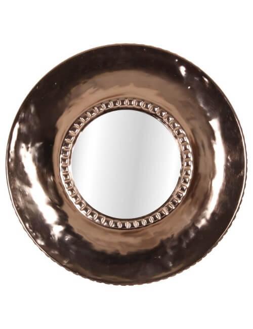 miroir rond cuivré de style rétro chic