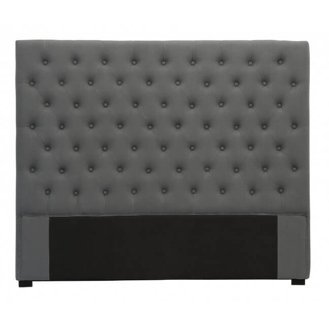 t te de lit capitonn e 140 cm lin anthracite mod le amelie. Black Bedroom Furniture Sets. Home Design Ideas