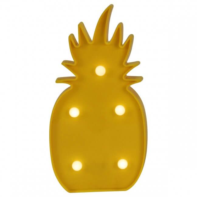veilleuse en forme d'ananas à piles de couleur jaune