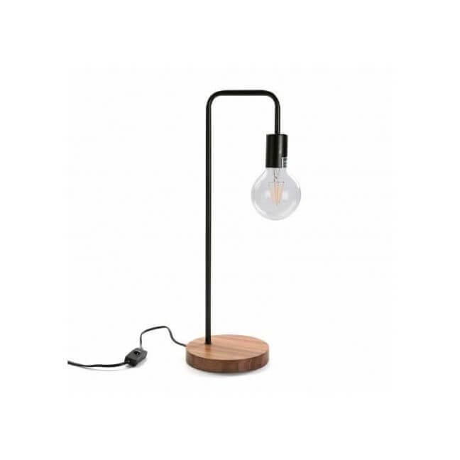 lampe de table m tal et bois. Black Bedroom Furniture Sets. Home Design Ideas