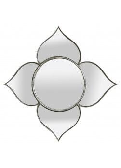 Miroir argenté de style baroque, diamètre 38 x 38 cm