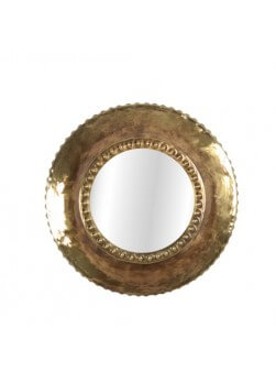 Miroir rond de couleur laiton diamètre 39 cm