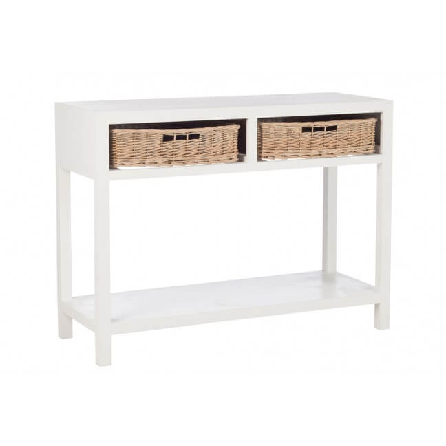 console et table d 39 entr e en bois blanc. Black Bedroom Furniture Sets. Home Design Ideas