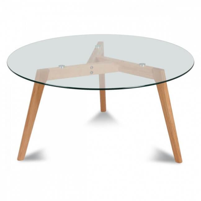 Table Basse Verre Bois.Table Basse Ronde En Verre Bois Meuble De Salon Kotecaz Fr