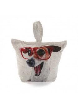 Bloque porte de 1.5 kg, face avant avec impression chien à lunette.