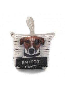 """Bloque porte de 1.5 kg. Face avant impression chien """"bad dog"""""""
