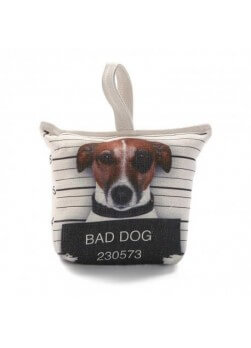 "Bloque porte de 1.5 kg. Face avant impression chien ""bad dog"""