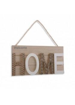 """Plaque décorative en bois avec inscription mot """"home"""". Collection maison de campagne."""