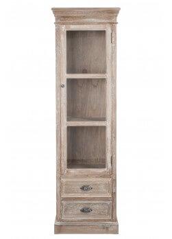 Meuble vitrine en bois cérusé blanc, porte vitrée, 2 tiroirs