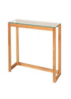 Console en bois d'hévéa huilé, plateau en verre