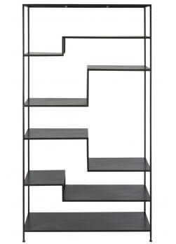 étagère en métal de couleur noir avec 6 étagères