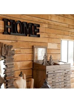 """décoration murale """"home"""" en métal noir"""