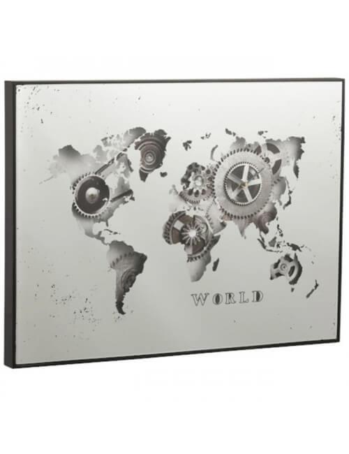 Horloge mappemonde miroir argent 80 x 60 cm