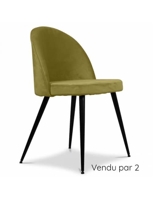 chaise en velours vert herbier vendu par 2
