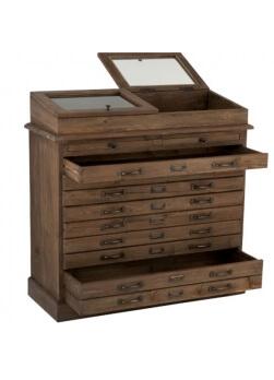 commode 5 tiroirs et 2 vitrines en bois brun