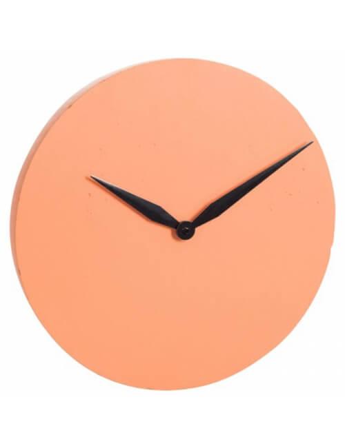 horloge murale en ciment orange