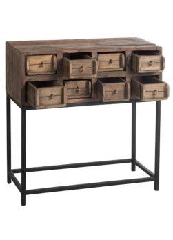 Console bois recyclé, 8 tiroirs