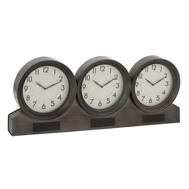 Horloge métal trois cadrans