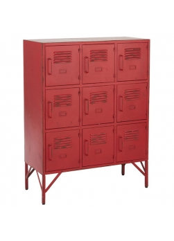 armoire en métal rouge avec 9 tiroirs
