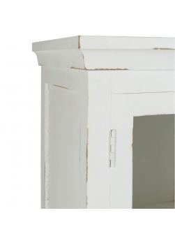 Buffet vitrine bois blanc vieilli