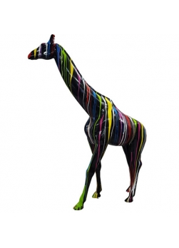 Girafe XXL en résine de polyester, design trash noir