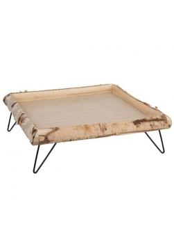 plateau petit déjeuner en bois de bouleau sur pieds