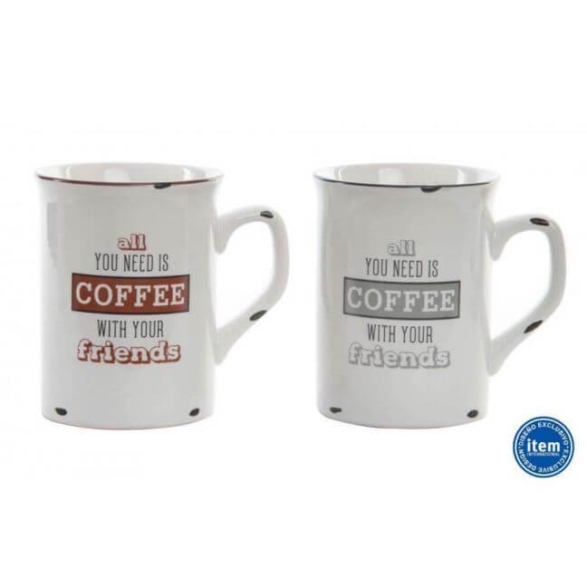 Mug métal émaillé lot de deux, inscription coffee