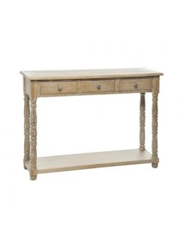 console bois 3 tiroirs, bois naturel blanchi