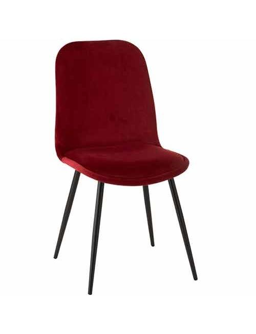 chaise de séjour de couleur bordeaux en velours