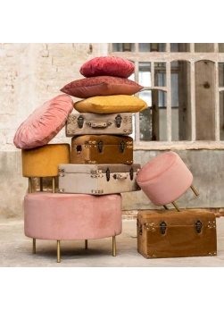 pouf rond velours rose