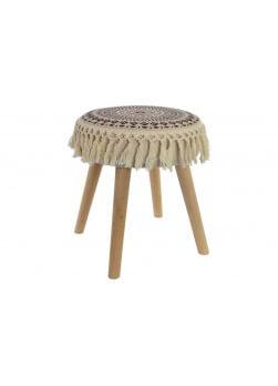 Tabouret style ethnique en bois en tissus avec pied en bois.