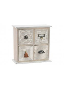 Boîte à bijoux, mini meuble en bois, 4 tiroirs.