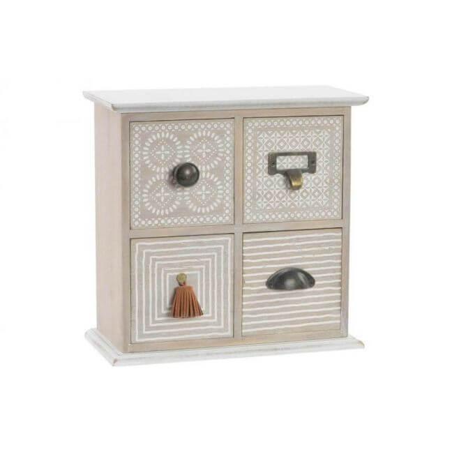 mini meuble bo te bijoux en bois 4 tiroirs. Black Bedroom Furniture Sets. Home Design Ideas