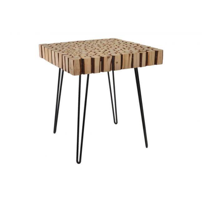 Achat table basse rectangulaire rondin de bois pas cher | Kotecaz.fr