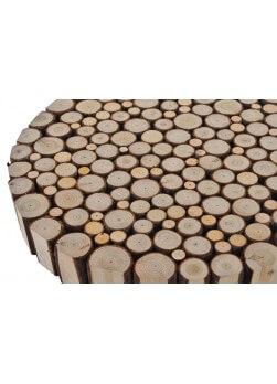 Table en rondin de bois de forme ronde et de style Alpin