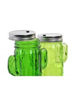 Pot en verre en forme de cactus avec éclairage LED.