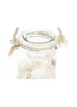 Photophore en verre à suspendre avec corde, inscription surf and beach.