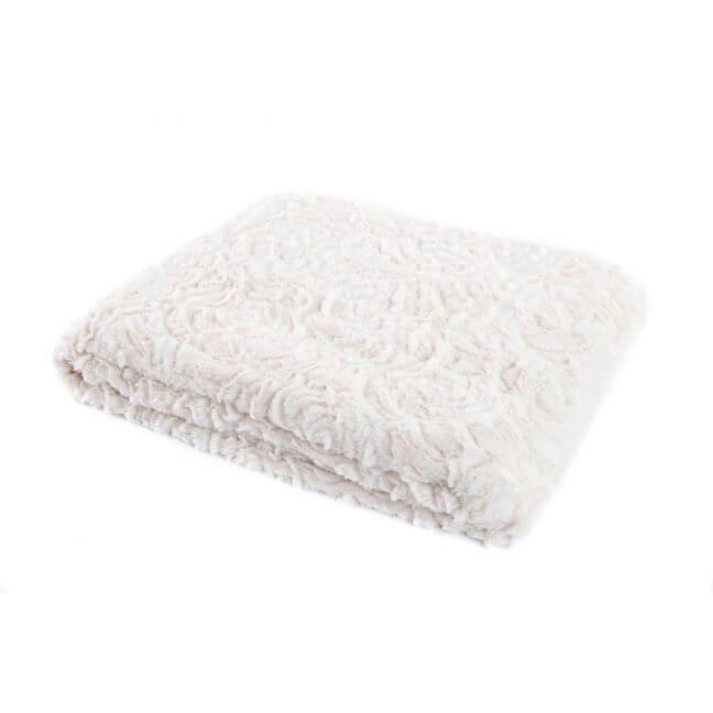Plaid aspect fourrure blanc couverture et jet de lit - Plaid fourrure blanc ...