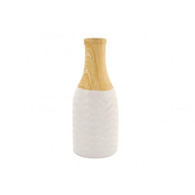 Vase en céramique blanc et imitation bois de 20,5 cm.