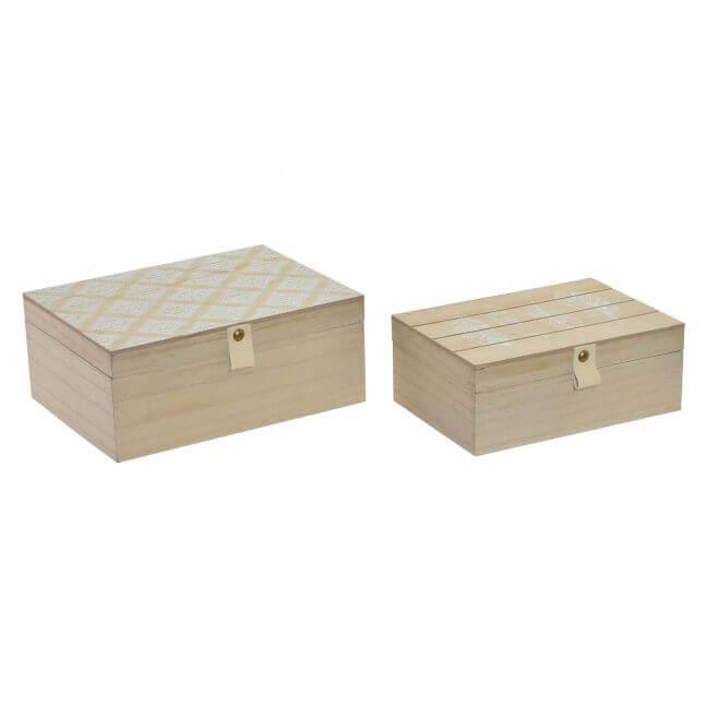 Lot de 2 boites de rangement en bois de style ethnique.