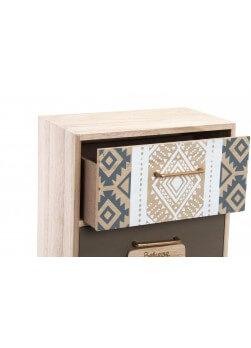 boite de rangement en bois style mini-meuble avec 2 tiroirs de style ethnique.