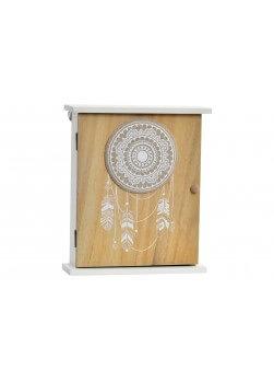 boite à clefs en bois, bicolor, style ethnique,modèle MANDALA