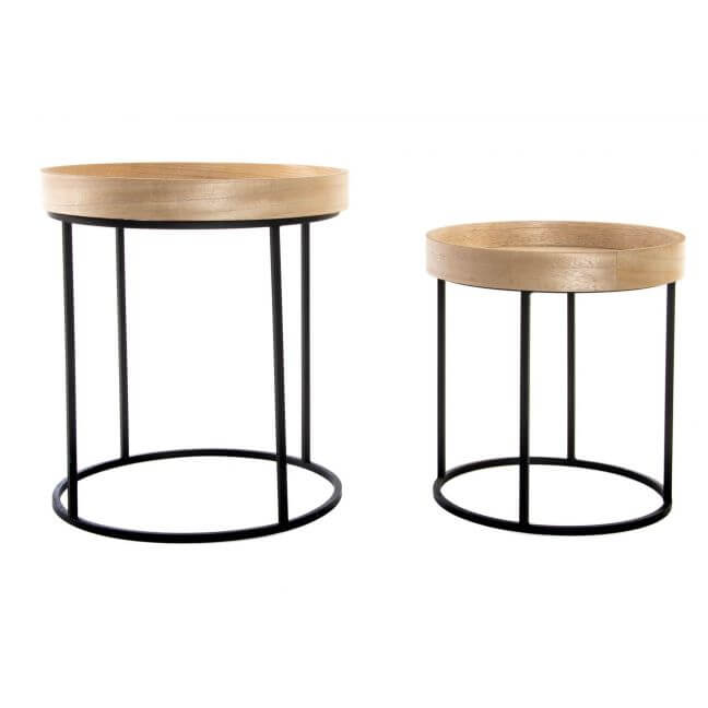 set de 2 tables gigognes plateau en bois pieds m tal. Black Bedroom Furniture Sets. Home Design Ideas